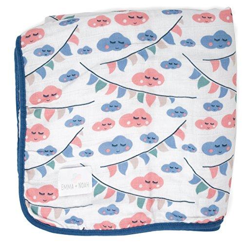 La manta para bebés de Emma & Noah es extra suave y acolchada, 100% algodón, tamaño 120 x 120 cm, 4 capas, motivo: nube, perfecta como dou dou, arrullo, manta para el cochecito