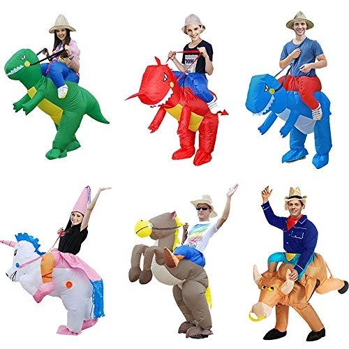 KHTO Erwachsene Halloween-Kostüme aufblasbare Einhorn-Kostüme Fahren auf die Himmel-Pferdeluft, die Kleidung lustige Kostüme sprengt (Up Kostüm Cowboy Blow)