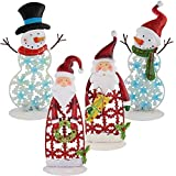 com-four® 4X Deko Teelichthalter für Weihnachten, Bunte Windlichter aus Metall in verschiedenen Designs (04 Stück - Metall Mix)