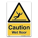 3 Signs Caution Wet Floor Sign–selbstklebend Vinyl Aufkleber–Achtung Konstruktion Sicherheit, Selbstklebendes Vinyl, A5 210x148mm