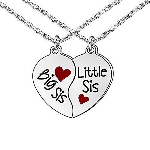 Schwestern Friends Halskette Big Sis Katzenstreu SIS Herz Anhänger Geburtstag Geschenke für Frauen Mädchen - Anhänger Halsketten Schwester