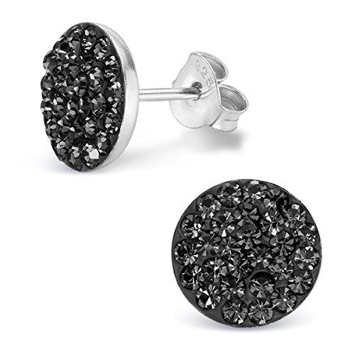 Silvinity Damen Ohrstecker schwarz rund 925 Sterling Silber Ohrringe Stecker 10mm flach mit Glitzer Kristall Steinen inkl. Anlaufschutz SV-184-SCH