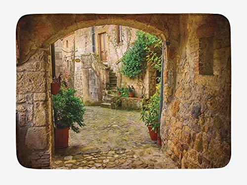 ETGBFHRDH Badematte, Landschaftsbild von Einer Anderen Tür, Antik Stil, Steindorf Toskana Italienisches Tal, Plüsch Badezimmerteppich mit Rutschfester Rückseite, 40,6 x 61 cm, Mehrfarbig