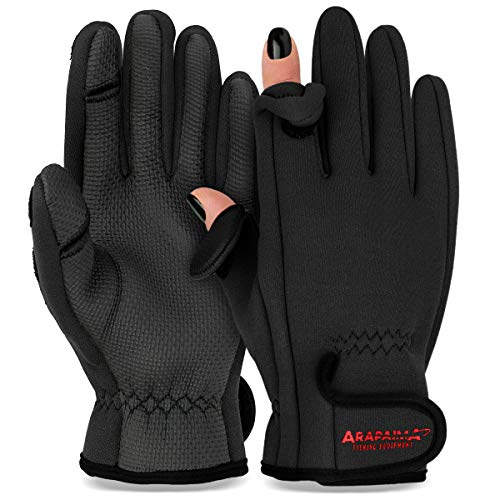 Thermo Angelhandschuhe 'Spin' | Neopren Angel Handschuhe | Anglerhandschuhe | Fishing Gloves - Schwarz - XL