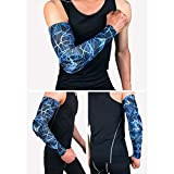 Tcare 1Pcs Compression Arm Sleeve, Sports Elbow Pad Crashproof [Non-Slip] Arm Guard Shooter Sleeve for Football Basketball : Blue, XL