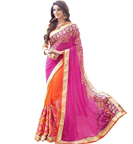 Ruchika Fashion Georgette Saree (Rf-14_Rani,Orange)