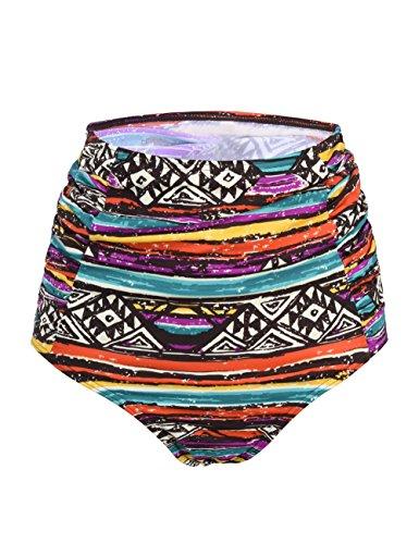 Hilor Damen Bikinihose Gr. 50, Side Pleated Khaki Bohemia Pattern - Khaki Pleated Skirt