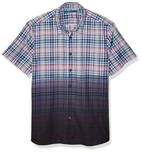 Perry Ellis Men's Dip Dye Plaid Shirt - Dye Plaid Shirt