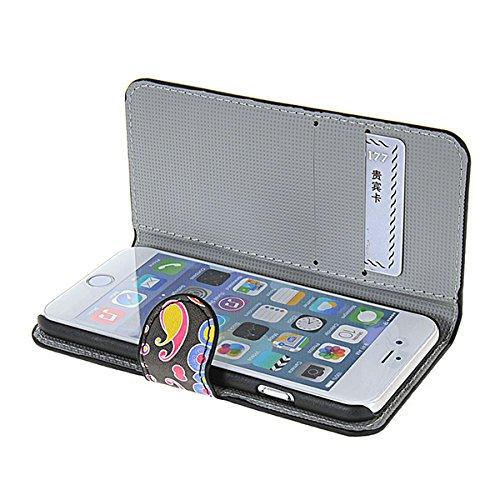 iPhone 6 Schutzhülle Hülle,COOLKE [001] Folio Ledertasche für Apple iPhone 6 PU Leder Tasche Brieftasche Case Cover 008