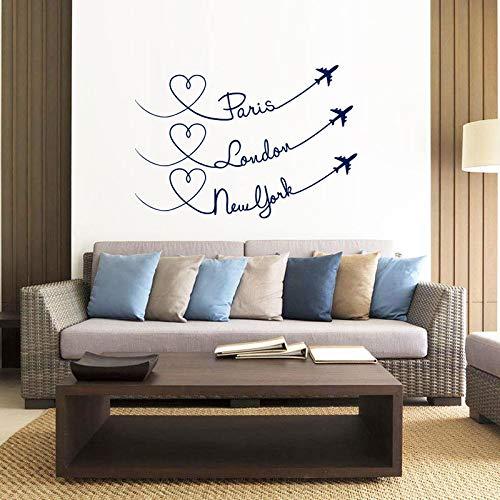 Paris London New York reiseflugzeuge Vinyl Wand Stikcer Schlafzimmer Dekor Wohnzimmer Liebe Flugzeuge Stadt Aufkleber Kinderzimmer 57 * 83 cm Blau