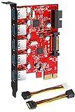 Inateck PCI-E para USB 3.0 de 5 puertos de tarjeta PCI Express y 15-pin conector de alimentación, Mini PCI-E adaptador del USB 3.0 Controller Hub, con USB 3.0 interno de 20 pines - Expandir otros dos puertos USB 3.0 - [A Incluir con 4 pines para 2x15pin Cable + A 15pin a 2x SATA 15pin Y-cable]