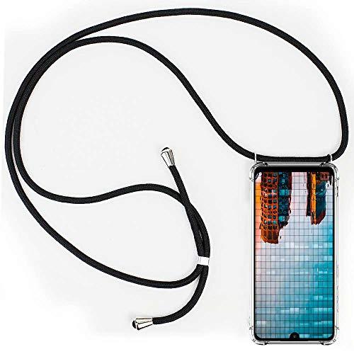 CLM-Tech Carcasa con Cuerda para Colgar Compatible con Xiaomi Redmi Note 7 - Funda Silicona Transparente con Cordon para Llevar en el Cuello, Negro