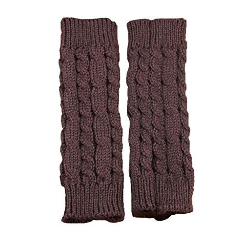 Lumanuby 1 Paar Armstulpen aus Strickwolle Unisex Winter Gestrickte Handschuhe für Damen Herren Pulswärmer Fingerlos Gloves Länge ca. 20.0cm, Dunkelgrau (Ca Waschen)