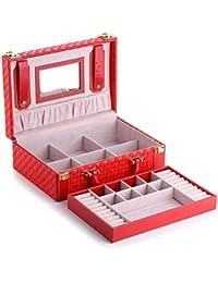 GWDZX Caja De Joyería Caja De Almacenaje Caso Cosmético Caja De La Tabla PU portable Doble Retro Europeo Manera,Red-27*18*8.5cm