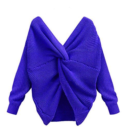 AIVEOKY Damen Pullover Elegant Langarm Casual Knotted Kreuz Backless V-Ausschnitt Schulterfrei Lose Strickpullover Oversize Oberteil Sweatshirt Blau