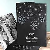 Weihnachtskarten Vintage, Kreidezierde 10 Karten, Vertikale Klappkarte 105x148 inkl. weiße Umschläge, Grau