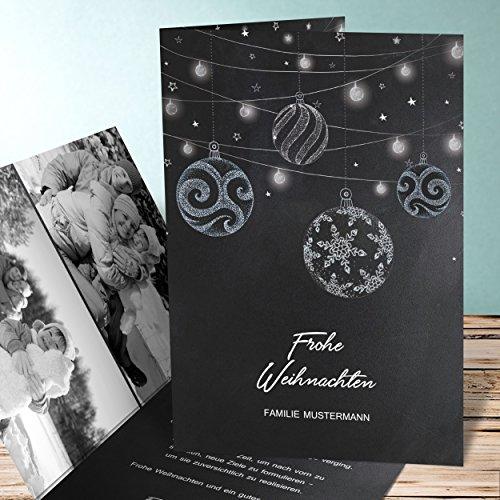Preisvergleich Produktbild Weihnachtspostkarten Nostalgisch, Kreidezierde 5 Karten, Vertikale Klappkarte 105x148 inkl. weiße Umschläge, Grau