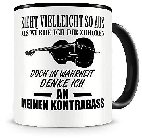 Samunshi® Ich denke an meinen Kontrabass Musik Instrument Tasse Kaffeetasse Teetasse Kaffeepott Kaffeebecher Becher Kontrabass
