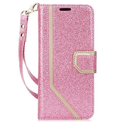 fyy iPhone X Case, iPhone X Wallet Case, [RFID-blockierender Wallet] [Make-up Spiegel] Premium PU Leder iPhone X Edition (2017) Wallet Tasche mit Kosmetikspiegel und Handschlaufe, Y-Bling-Pink+Gold