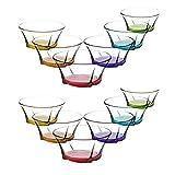 LA&V Lav 12Piezas de Colores de Cristal rígida Truva rígida Carcasa–Cuenco de Postre Colores Cristal Carcasa vorspeise Cristal Vasos 190ML