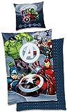 BERONAGE Marvel Kinder-Bettwäsche Avengers Team Glow in The Dark - leuchtet im Dunkeln 135x200 + 80x80 cm Captain America Thor Ironman Hulk 2 Motive deutsche Größe 100% Baumwolle Linon Reißverschluss