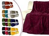 Cashmerefeeling-Superior-Flauschdecke - 14 exklusive Farben - 3 Komfortgrößen - traumhaft kuschelwarm & -weich, 130 x 170 cm, bordeauxrot