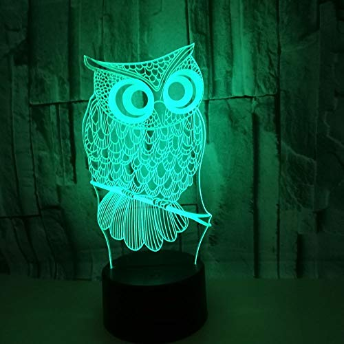 Lampe 7 Farben Usb Touch Schalter Nachtlicht Tierische Eule Geburtstag Valentinstag Schlarfzimmer Dekoration Für Kinder Kinder Weihnachts Geschenk ()
