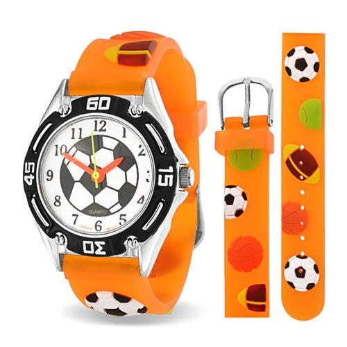 Bling Jewelry All Star Sports Baseball Fußball-Fußball-wasserdichte Armbanduhr Zeit Lehrer Quartz 3D Cartoon Orange Silikon Armband (Kugeln Baseball-gewicht)