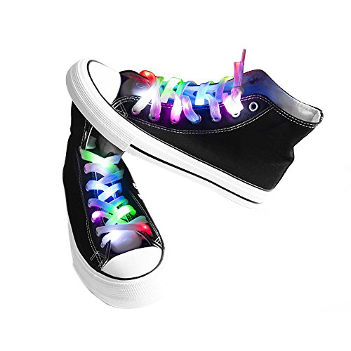 easyDecor (1 par) Cordones LED Se ilumina 3 modos Batería Luz intermitente Cordones de zapatos para bailes de fiesta Decoraciones corrientes de hip-pop (Multicolor)