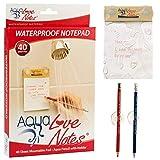 Toy Zany Einzigartiges Papier | Wasserabweisender Notizblock für die Dusche mit Stifthalter | Ungewöhnliches und lustiges | für Männer u. Frauen | 40 anheftbare, wasserdichte Notizzettel | Aqua Love Notes - Waterproof