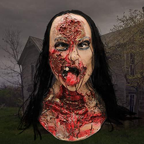 HOCOL Halloween Maske, Perücke Weibliche Geistermaske Blutige Gebrochene Gesichtsmaske, für Kostüme Party Neuheiten Maskerade Halloween Requisiten - Animierte Kostüm Perücke