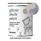 hemway piedra tiza pintura (con purpurina) de brillo mate acabado pared y muebles pintura 1L/(Shabby Chic Vintage pintura cristal (25con purpurina colores disponibles), plateado