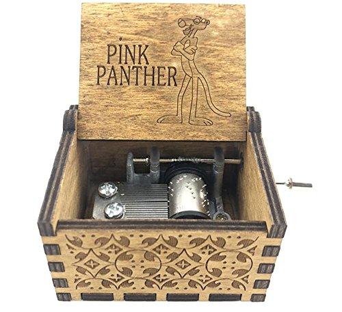 Cuzit Caja de música, diseño de pantera rosa envejecida, juguete de mano de madera, regalo de Navidad, regalo de cumpleaños, fiesta, suministros