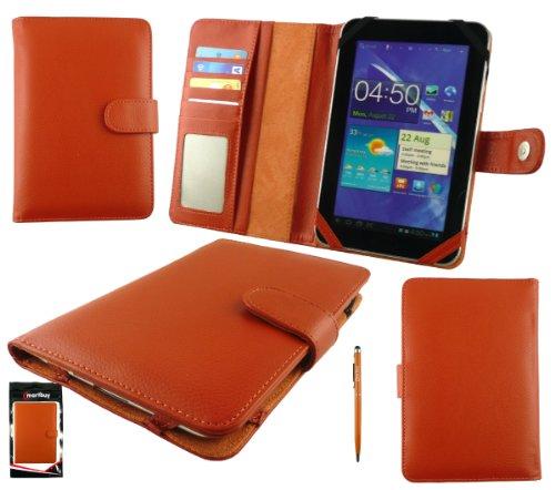 Emartbuy® Orange Doppelfunktion Stylus + Universalbereich Orange Grund Case Tasche Hülle Mit Kartensteckplätze Geeignet Für Trekstor Surftab Xiron 7.0 HD
