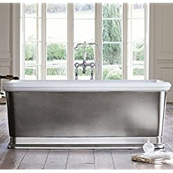 Casa Padrino Badewanne freistehend rechteckig 1800mm BLon Silber - Freistehende Retro Antik Badewanne