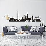 HomeTattoo ® WANDTATTOO Wandaufkleber Skyline Hamburg Stadt Wohnzimmer Flur City 583 XL ( L x B ) ca. 58 x 165 cm (schwarz 070)