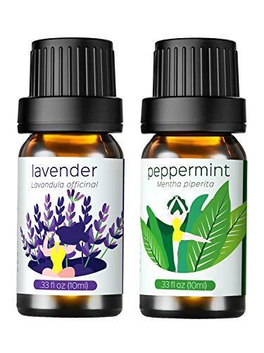 Ätherische Öle Geschenkset, Homasy Top 2 Aromatherapie Duftöl Essential Oil Duftöle, 100% Pure, Lavendel&Pfefferminze,10ml / Flasche【Transform-Serie】Perfekt für