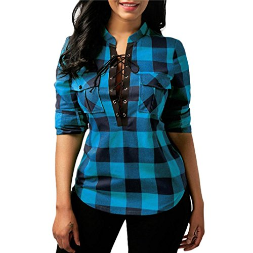 KaloryWee Womens Plaid Cross Bandage Pocket Roll Up Long Sleeve Deep V Neck Fitted Flannel Shirts Tops Evening Sexy Blouses Mothers Day Gifts