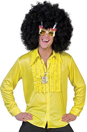 Tanz Funny Kostüm - Hippie Rüschenhemd für Herren - Gelb Gr. 48 50