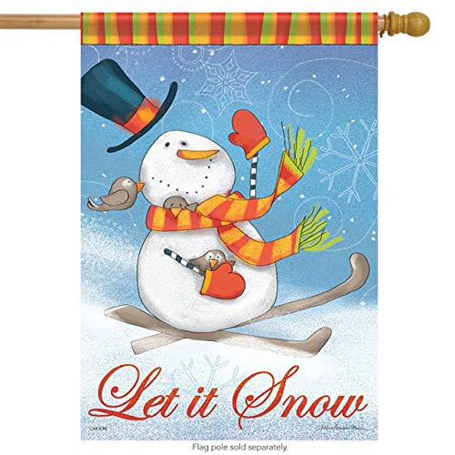 n Winter House Flag Snow Birds Let it Snow Top Hat Banner for Party Outdoor Home Decor Size: 28-inches W X 40-inches H ()