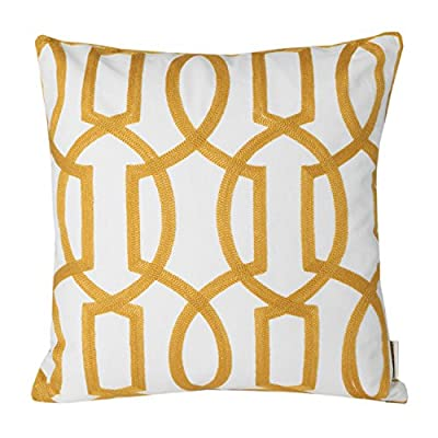 "Mika Home Embroidery Geometric Links Accent Decorative Throw Pillow Cover Sofa Cushion Case for 18X18"" Inserts Cotton Fabric Gold White - cheap UK light shop."
