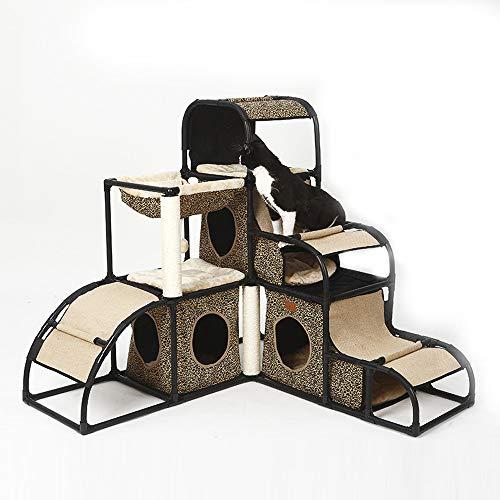 DjfLight Cat Entertainment Tower, vielseitige und abnehmbare Kombination Klettergerüst Kratzbaum Kondominium, Katze Klettergerüst Center Pet Furniture,Brown -