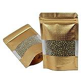 Golden Aufstehen Alufoliebeutel mit Klar Plastik Mattglasbirne Fenster Lebensmitteltaschen Streifen Ziplock Mylar Tüten Lagerung Kaffee Nuss 10x15cm 100 Stück