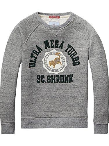 Scotch Shrunk Poly Cotton Crew Neck Sweat with College Artworks, Felpa Bambino, Grau (Grey Melange 606), 128 cm