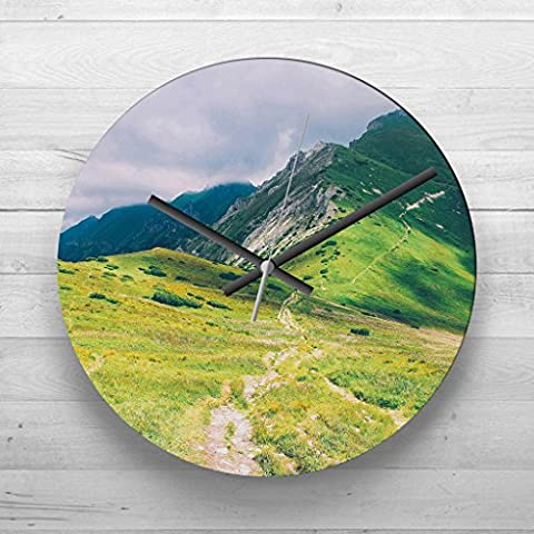 Large 32cm Analog Wall Clock - Landscape Pathway to the Mountain Ridge - Silent Non-Ticking Quartz Movement - FREE DELIVERY