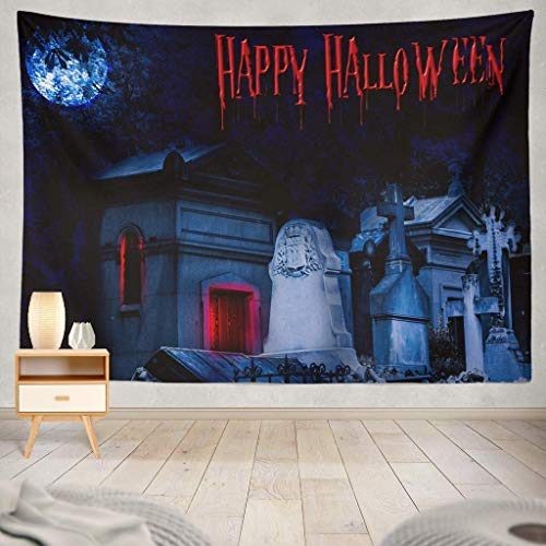 gthytjhv Tapisserie Halloween Happy Font Scary October Banner Bats Boo Calligraphy Celebration Creative Dark Elegant EyesDecorative Tapestry,60X60 Inches Wall Hanging Tapestry for Bedroom Living Room (Fonts Scary Für Halloween)