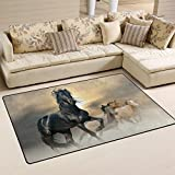 COOSUN Pferde Animierter Bereich Teppich Teppich rutschfeste Fußmatte Fußmatten für Wohnzimmer Schlafzimmer 152,4x 99,1cm, Textil, multi, 60 x 39 inch