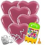 10 Folienballons Herz Farbe wählbar mit Helium Ballon Gas Hochzeit Komplettset (Rosa)