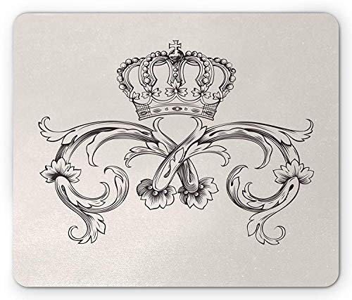 Medieval Mouse Pad, Royal Crown with Vintage Curves King Palace Ribbon Monochrome Retro Style, Standard Size Rectangle Non-Slip Rubber Mousepad, Beige Dark Brown Royal Standard Rose