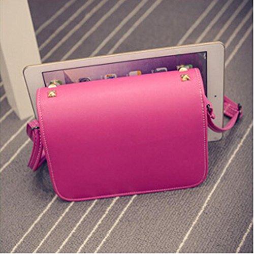 kingko® Mode féminine Rivet Cuir Sac à main épaule Cross Body Messenger Bag rose chaud